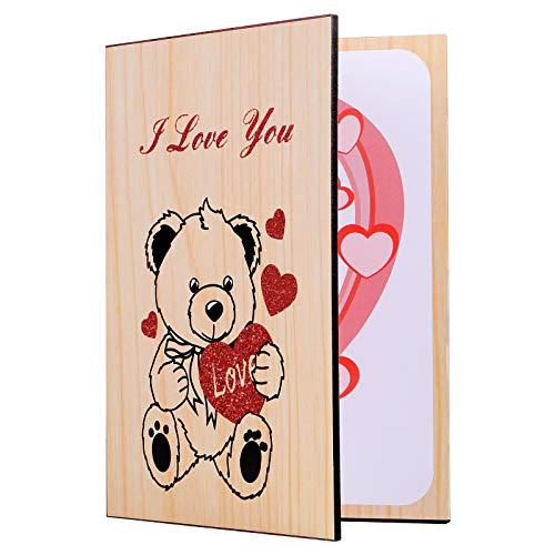 STOBOK Tarjeta de San Valentín, hecha a mano, tarjeta de felicitación de bambú, regalo para el día de la madre, año nuevo, boda, cumpleaños