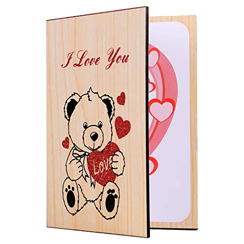 STOBOK Tarjeta de felicitación de bambú para cualquier ocasión – Tarjeta de regalo para San Valentín, día de la madre, año nuevo, boda, cumpleaños, aniversario