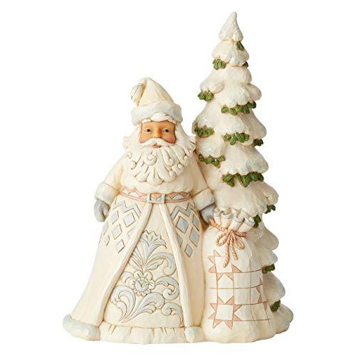 Jim Shore Heartwood Creek Babbo Natale Bianco con Albero Alto, 27 cm