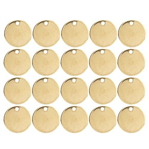 Etiqueta redonda de acero inoxidable, colgante redondo profesional de bricolaje fuerte y para uso doméstico y profesional Q para la mayoría de las personas(Round-gold, 12mm 20 pcs)