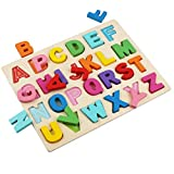 Image: Wooden Alphabet Puzzles, ABC Puzzle Board for Toddlers 3-5 Years Old, Preschool Boys and Girls Educational Learning Letter Toys, Sturdy Wooden Construction | by Kimuvin