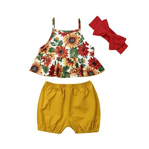 Moneycom❤Enfants Fille Camisole Impression Fleur Veste Couleur Pure Shorts Arc Couvre-Chef Jaune(6-12 Mois)