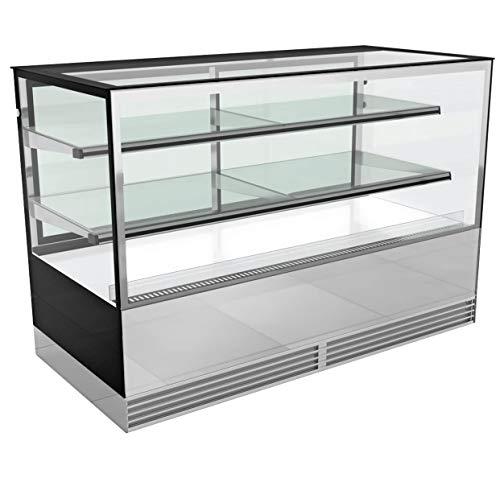 Kuchentheke - Kühlvitrine - Kuchenvitrine 1,50 m breit - 2 Ablagen - Spiegelfront - LED Beleuchtung - R 134a, Temperaturbereich: +2 °C bis +10 °C