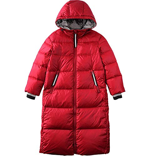 Damen Jacke Damen Daunenjacke Winter mit Kapuze Lange dick gepolsterte lose Daunenjacke Damen Steppjacke mit Taschen Schwarz Rot (vegan hergestellt) (Color : Red, Size : XL)