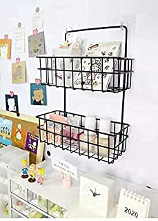 Golida Multipurpose 2 Layer Metal Wall Hanging Kitchen Storage Rack Home Decor Shelf for Bathroom Decor Home Storage Rack ...