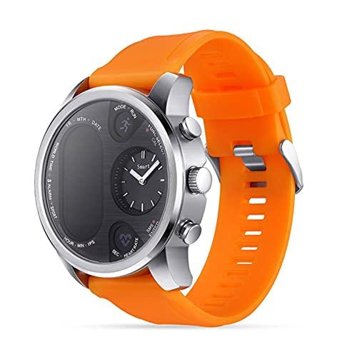 zyz Moda Smart Watch Men T3 Pro Dual Time Impermeable IP67 Monitoreo De Ritmo Cardíaco Bluetooth Activity Tracker Sports Pedometer Watch,Naranja