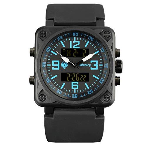 Infantry de hombre analógico digital reloj de pulsera Ejército Cronógrafo Fecha Día Cronómetro Alarma exterior Cronómetro goma pulsera