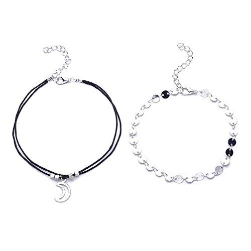 Toporchid Boho Fußkettchen - Doppelschicht Fußkettchen Perlen Fuß Armband, Fußkettchen Fuß Zubehör für Frauen Mädchen Lady Geschenke (Mond)