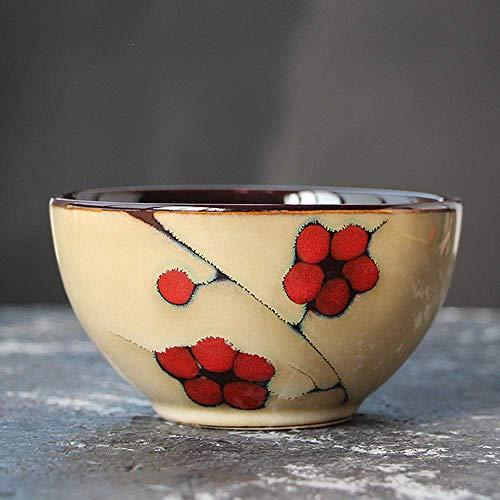 ZLININ Tazón de porcelana de cerámica para arroz hecho a mano, cuenco para restaurante, vajilla de 1 unidad, 1 unidad, 4,5 pulgadas