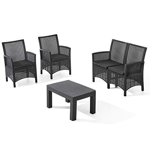 ガーデンソファセット イノバ ラタン調エブリー4点セット EVRY4set (ブラック)