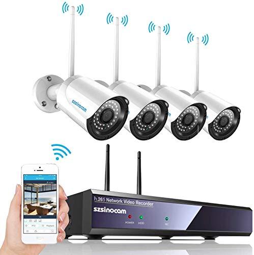 Kit de WiFi vidéo Surveillance sans Fil, SZSINOCAM Système de Sécurité 4CH 1080p Caméras Hydrofuge et Infrarouge Nocture,Intérieux/Extérieur,Accès à Distance,Antenne sans Fil améliorée (sans HDD)