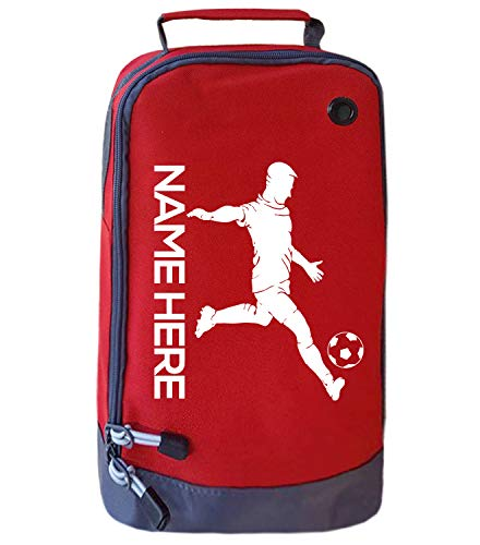 Absolutely Top Bolsa para botas de fútbol para niños, personalizable, para niños, equipo de polietileno, color rojo y blanco