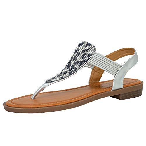 Fitters Footwear That Fits Damen Sandale Frida Lederimitat Bequeme Zehentrennersandale mit Glitzersteinen Übergröße (43 EU, grau)