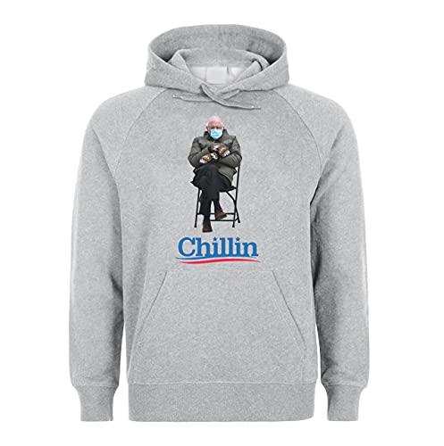 Bernie Sanders 2021 Presidential Inauguration Chillin Unisex Hoodie Sweatshirt Pullover Grey XL