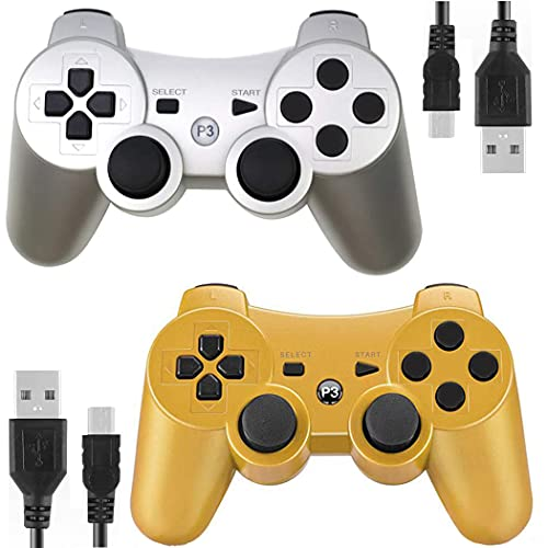 Kolopc Wireless Controller Compatible for PS3 Console, Double Vibration, 6-Axis Gyro Sensor, Upgraded Joystick Motion Gamepad with Charging Cable (Gold and Silver)
