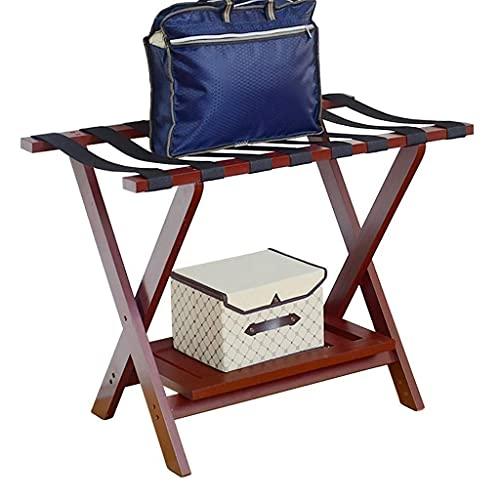 Inicio Equipo Portaequipajes Portaequipajes plegable Taburete de descanso de viaje Hogar de madera maciza Estante de almacenamiento de ropa de 2 capas Rojo vino 31.5 * 17.7 * 23.6 pulgadas para dor