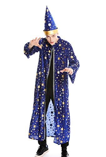 dressmeup Dress ME UP - M-0132-S/M Disfraz Hombre Mujer tnica Capa Sombrero Gorro Mago hechicero Brujo Talla S/M