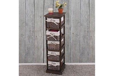 Regal braun Kommode mit 5 Korbschubladen massiv Paulowniaholz Anrichte Vintage
