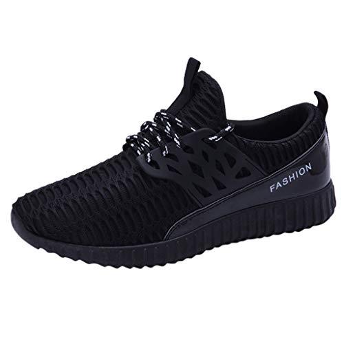 Hommes Baskets Mode Chaussures de Sports Course Sneakers Respirantes Tissé Mouche Lace-up Lace-up Maille Décontracté Shoes (41 EU, Noir)