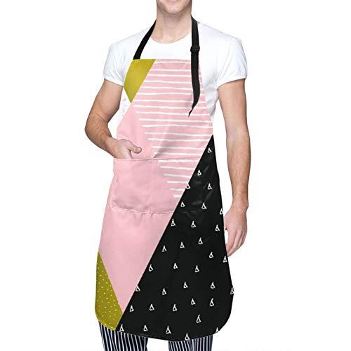 Ajustable Colgante de Cuello Personalizado Delantal Impermeable,Composición geométrica abstracta en oro blanco negro y rosa pastel,Babero de Cocina Vestido para Hombres Mujeres con 2 Bolsillos