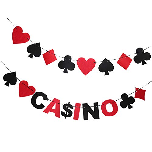 freneci 2pcs Casino Bets Playing Card Suits Poker String Night Party Hanging Decor