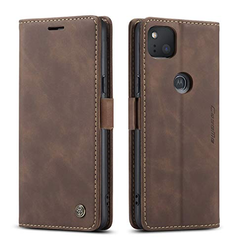 Kowauri Google Pixel 4a Case,Leather Wallet Case Classic Design with Card Slot and Magnetic Closure Flip Fold Case for Google Pixel 4a 2020 (Coffee)