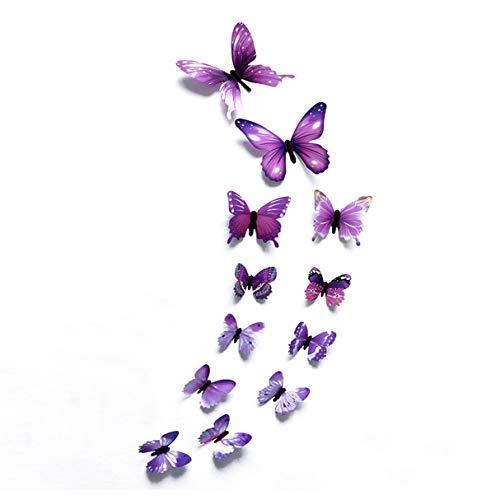 Morninganswer 3D Schmetterling Wandaufkleber Schmetterlinge an der Wand für Kühlschrank Aufkleber Wallpaper für Wohnzimmer Home Decor