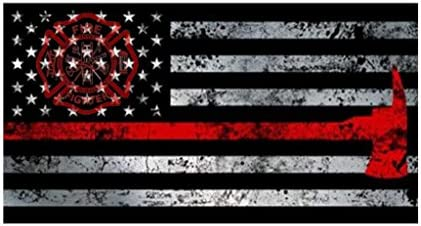 JMM Industries Firefighter Flag W Axe Emblem Thin Red Line Ax Tattered Look Car Window Bumper product image