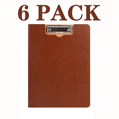 NYKK Clipboard Folder Premium PU Report Presentation Folder Folder with Reinforcement Clips Office Solutions 6 Pack, Assorted Premium Fashion Colors-9.4 X 12.6 Inch Document Resume Organizer
