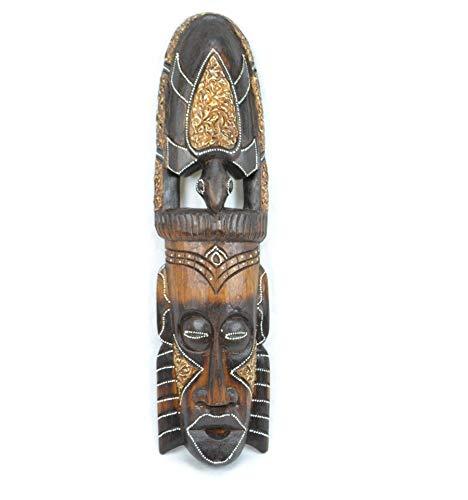 Artisanal Máscara de África, de Madera, 50cm, diseño de Tortuga. Producción Tradicionales.
