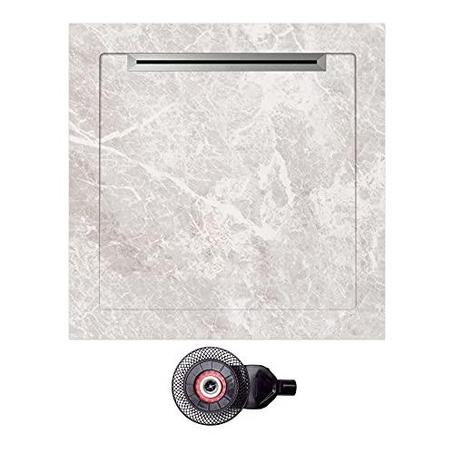 NEBELHORN Duschwanne Komplettset 90 x 90 - rutschfeste Naturstein Struktur - Bodengleich - einschl. Ablaufgarnitur - 100% keramisch - Farbvariante: (Fiori Di Presca Weiß)