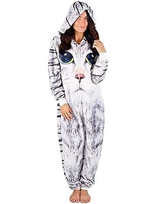 CityComfort Pijamas Enteros de Animales Mujer de Una Pieza Suaves, Disfraz Halloween Mujer Unicornio Gato Búho, Pijama Mono Entero Manga Larga Capucha, Regalos para Chicas (M, Gato)