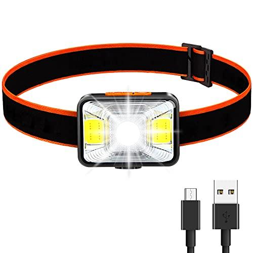 Linterna Frontal LED, 1800 Lux Lámpara de Cabeza Recargable Súper Brillante con 5 Modos de Luz Frontal USB IPX5 Ligero Impermeable para Pesca, Camping, Lectura, Senderismo, Ciclismo, Caza