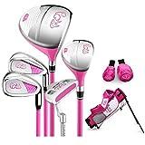 WYSTAO Golf Club Infantil, Puede Elegir Categoría de Palos de Golf (5 Piezas) con Bolsa de Hombro Y Dos Madera Cabeza de Palo de Rosa Cubre/Negro/Amarillo...