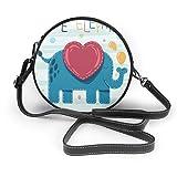 Bolso cruzado redondo con diseño de elefante para bebé, de piel sintética, con cremallera, para el hombro, para teléfono móvil, para mujer