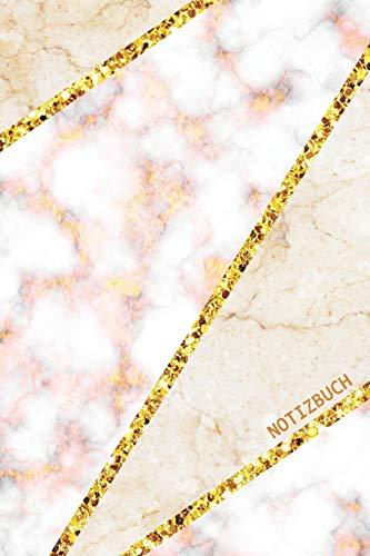 Notizbuch: Trendy Liniertes Notizbuch | Rosa und Weisser Marmor mit Gold Mosaik-Linien Design | Softcover, 120 Seiten (Schöne Notizbücher, Band 6)