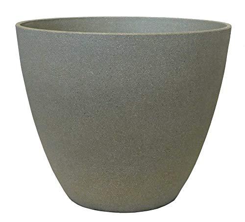 Gartenpirat Pflanzkübel groß Ø 44 Höhe 37 cm Kunststoff Blumentopf Steinoptik Sandfarben Taupe
