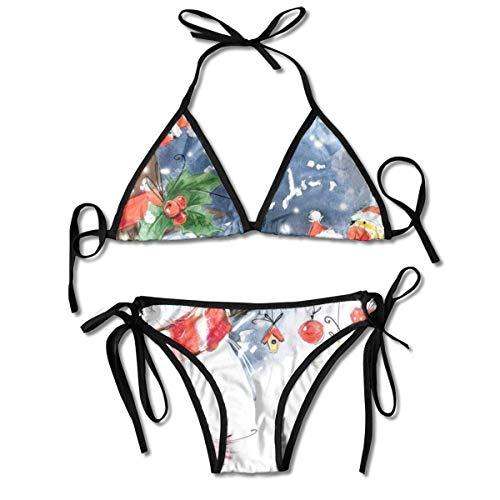 Conjuntos de Bikini para Mujer Impresos Copo de Nieve de pájaro de muñeco de Nieve de Navidad, Traje de baño de triángulo Traje de baño de Playa