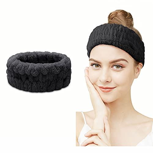 Diadema de spa – Diadema de maquillaje facial Coral Fleece Bandas para el pelo para las mujeres lavado de la cara elástica de cabeza ancha para yoga deportes ducha (Balck)
