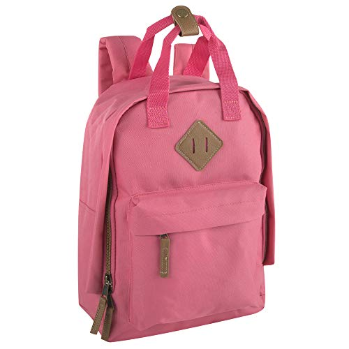 Canvas Mini Backpack for Everyday & Day Pack Rucksack in Solid Color Blocks (Pink)