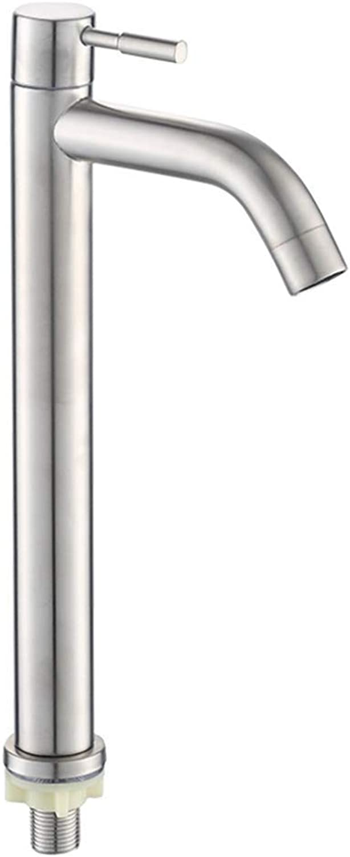 Basin Mixer Tap Bath Fixtures Wash Basinsinkkitchen 304 Stainless Steel Single Cold Basin Faucet, Single Water, Single Hole, Washbasin, Washbasin, Basin, Bathroom, Faucet.