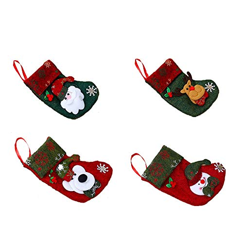 WARMWORD Juego de 4 Calcetines de Navidad Regalode Decoración Bordado de Santa...