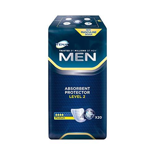 """Tena Men\""""Level 2\"""", 20 Stück, Einlagen, Blasenschwäche, saugfähig, Inkontinenz, Slipeinlage, Seniorenhilfe, Inkontinenzeinlage, weiß, Saugleistung: 450 ml"""
