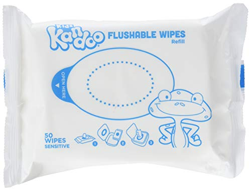Flushable Wipes for Babies and Kids, Sensitive by Kandoo, Hypoallergenic Potty Training Wet Cleansing Cloths Refills, Unscented, 50 Count per Pack, Pack of 12