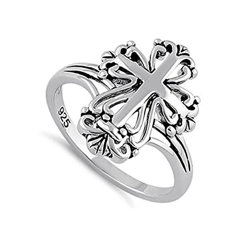 Joyería oxidada del anillo de Boho de la vendimia hecha a mano del diseño de la cruz antigua de la plata esterlina 925 (17)
