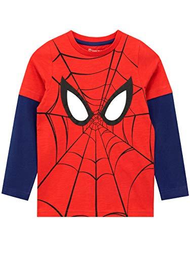 Marvel - T-Shirt à Manches Longues - Spiderman - Garçon - Rouge - 10-11 Ans
