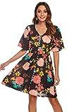 Leezepro - Vestido de verano para mujer, manga corta, cuello en V, tira de botones, elegante vestido de playa Negro S