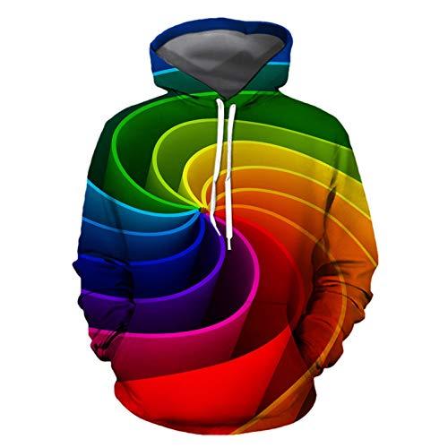LUOYLYM 2019 Langarm Top Jacke Digitaldruck Hoodie Sweatshirt Farbe Lose Pullover Paar Tragen Lässige Sport Pullover Photo Color M