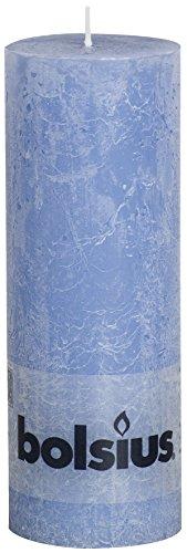 Bolsius Tall Textured Pillar Candle in 'Denim Blue'