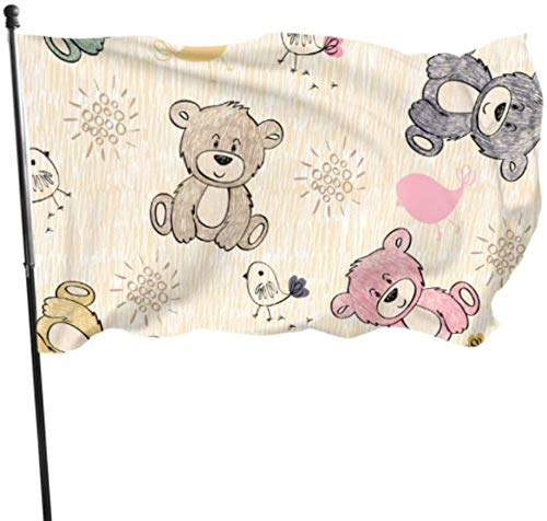 PEIYUH Flags,Funnycartoon Teddy Bears Party Decoration Flags Decorative Garden Flags Durable Polyester Banner,for Indoors Outdoors Decor Flags 3 X 5 Ft